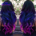 "Black&blue&purple Hair Extensions With Closure 18""20""22"" 3Bundles body wave Ombre blue purple Synthetic Hair Weft Extensions"