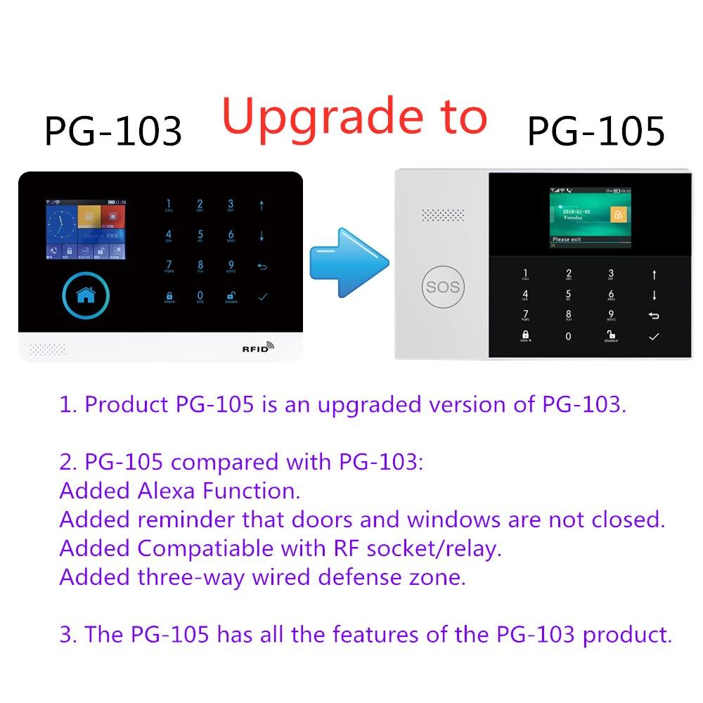 433 MHZ IOS Android APP télécommande LCD tactile clavier sans fil WIFI SIM GSM RFID maison cambrioleur sécurité système d'alarme capteur - 2