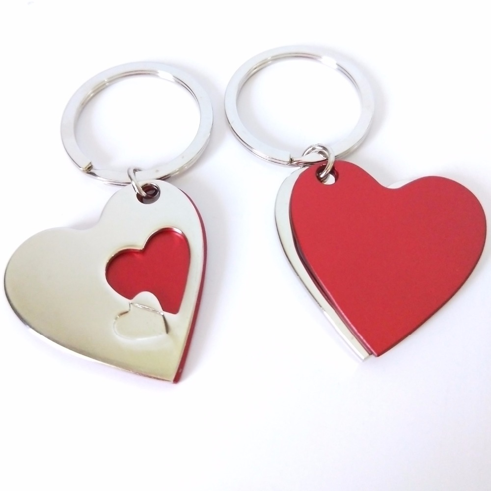 100Pcs Personalized Wedding Gift For Guests Souvenirs,Heart Keychain ...