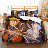 MUSOLEI 3D Bedding Set Anime Naruto Soft Bed Duvet Cover Set Twin Queen King Size