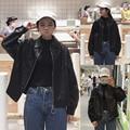 Корейский ulzzang зимние куртки 2017 Harajuku ветер двойной карман куртка мотоцикла PU кожаная куртка Бейсбол Куртка