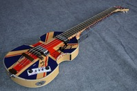 新しい中国のギターfirehawkバイオリン低音ヴィンテージ'61'事実上イングランド旗パターン4弦エレキベースギター左+