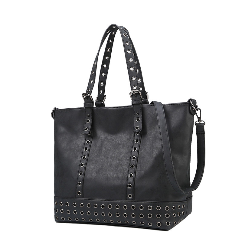 Edgy Rivet Occident Style Women Tote Bag High volume Casual font b Handbag b font Simple