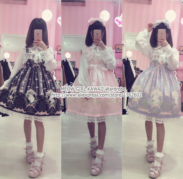 cc2c66304b Super Cute Western Painting Theme Fairytale JSK Lolita Dress Suspender  Fancy Dolly Dress Nice Lace Trim 3 Colors