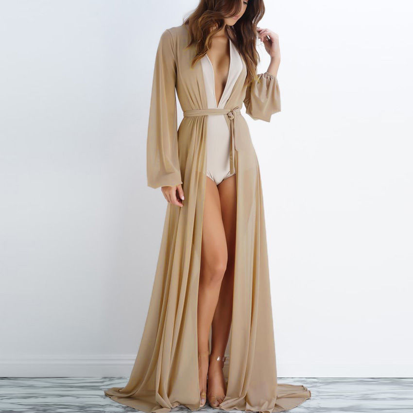2018 Sexy Summer Women Beach Casual Style Long Kaftan See Through Cardigan Bandage Long Sleeve Solid Long Chiffon Shirt Blouse