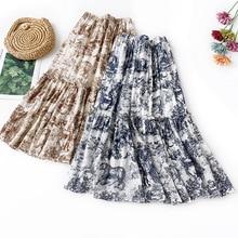 цена на AcFirst Summer Women Skirt Casual High Waist A-Line Ankle-Length Long Skirt Cotton Clothing All-match Ruffles Printed Chinese