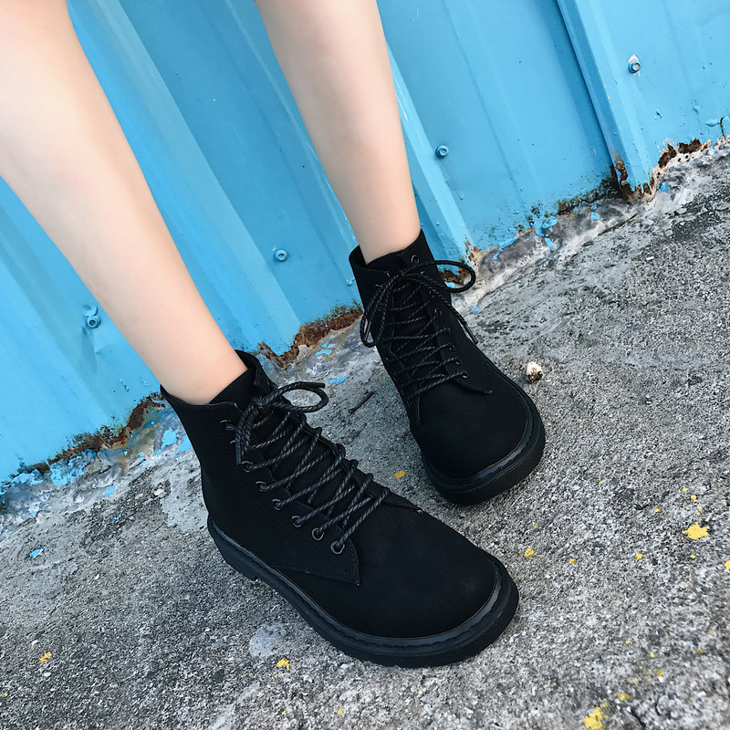 2018 New Women Boots Autumn Winter Ankle Boot for Female Lace Up Low Heel Shoes Cross Tied Moto Cycle Suede Leather Botas Ladies lace up woman ankle boots brown gray short boot low heel motorcycle boot desert boot 2018 autumn winter female fashion shoes