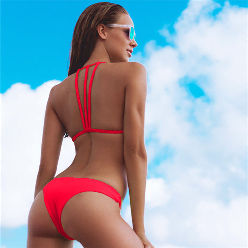 HTB1cE2qVmzqK1RjSZFLq6An2XXau Solid Bandage Bikini Set Women Sexy High Cut Bathing Suit Swimsuit New Low Waist Halter Top Swimwear Summer Beachwear Biquini
