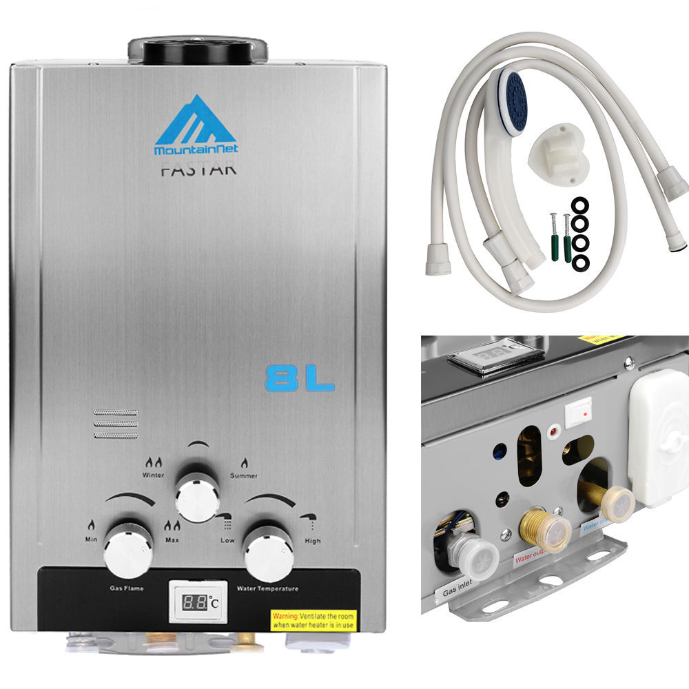 Natural Gas 8L Tankless Instant Hot Water Heater Boiler Stainless 16kw 2.1 GPM gpm 450