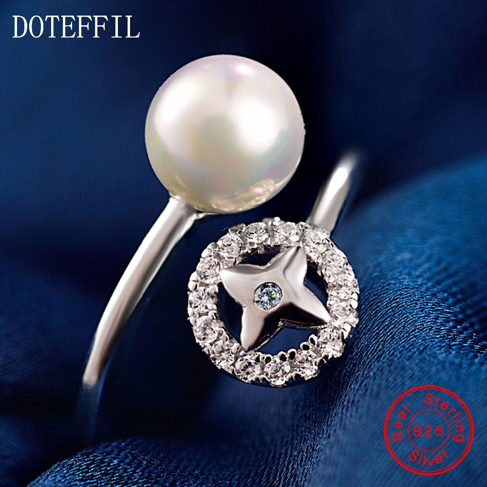 8mm Pearl Ring 100% Sterling Silver Woman Charm Fashion Round AAAA Zircon Ring Romantic 925 Silver Jewelry