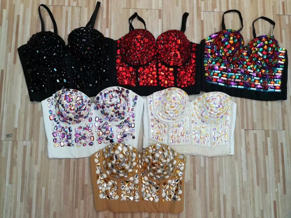 6 Colors Women Summer Strap Beading White Red Black Bandage Tops Camisole Tops Crop Tops L 789