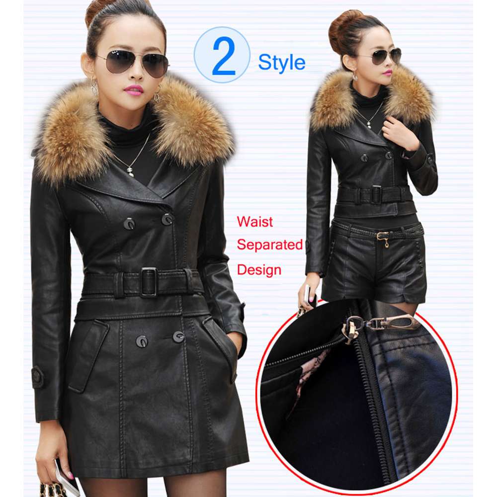 Leather Coat women New Style Waist Separated Desigan Women Fur Collar  Leather Jacket Women suede