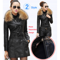 Leather Coat women New Style Waist Separated Desigan Women Fur Collar Leather Jacket Women suede Coat Female coat plus Size