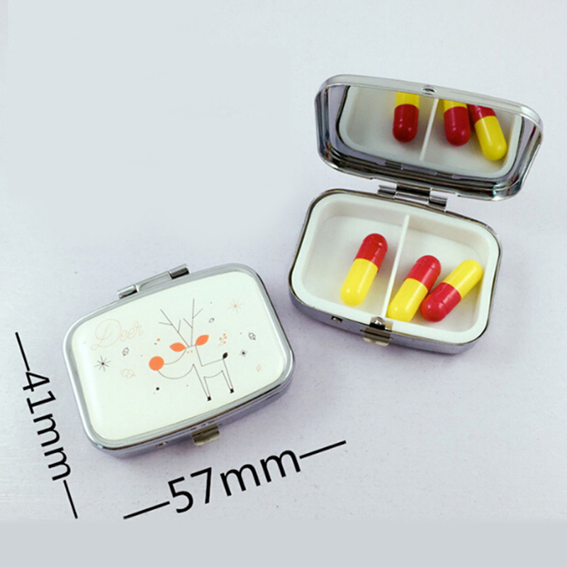 Portable Two Grid Compartment Pill Box Organizer for Travel for Safe Storage of Pills