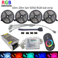 15M 10m 20m RGB Strip RF touch Remote RGB strip lighting 30Leds/M SMD5050 Flexible Led Strips+Controller+110V/220V  Power supply