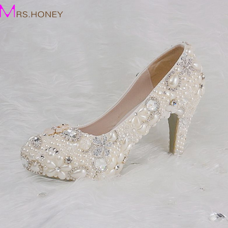 Bride Round Toe White Pearls With Crystals Shoes 4 Inches Platform Women Heels Customized