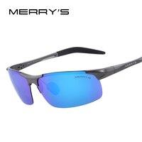 MERRY'S גברים מקוטב משקפי שמש משקפיים שמש מגנזיום אלומיניום תעופתי נהיגה דיג מלבן S'8277 גוונים ללא שפה