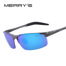 MERRY'S Men Polarized Sunglasses Aviation Aluminum Magnesium Sun Glasses For Driving Fishing Rectangle Rimless Shades S'8277