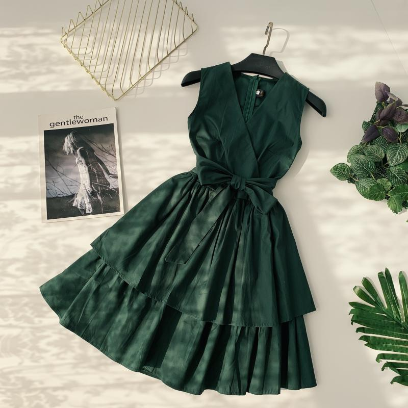 Korean Vintage Pure V Collar Sleeveless High Waist Bow Tie Double Ruffle Holiday Dress Women Vestidos E348 73
