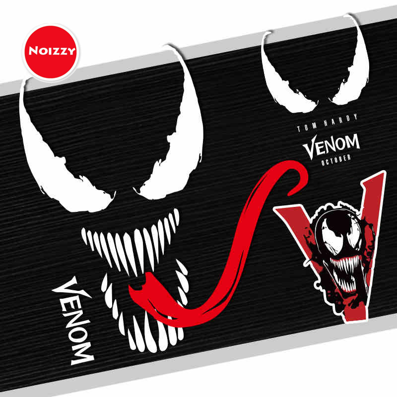 NOIZZY Venom Legends Tongue Car Auto Fashion Sticker Decal Vinyl Reflective Custom Black White Body Window Tuning Car Styling