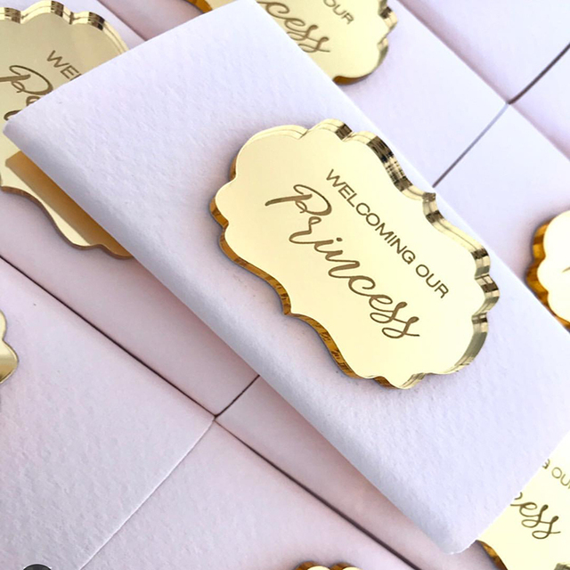 Us 22 21 7 Off Custom Made Gold Acrylic Mirror Tags Lettering Name Logo Personalized Acrylic Tags For Baby Shower Chocolate Favors In Decorative