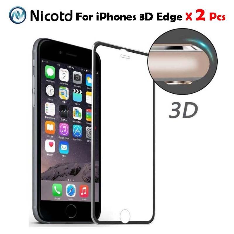 2ชิ้น/ล็อต3dโค้งtitaniumขอบกระจกเต็มปกสำหรับiphone 7 7บวกฟิล์มป้องกันรอยหน้าจอสำหรับiphone 6 6s