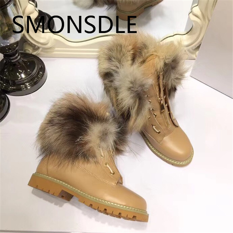 SMONSDLE 2018 New Fashion Black Genuine Leather Women Ankle Boots Round Toe Front Zip Fur Lining Women Winter Boots Shoes Woman apricot fashion round neck zip front bodycon cami dress