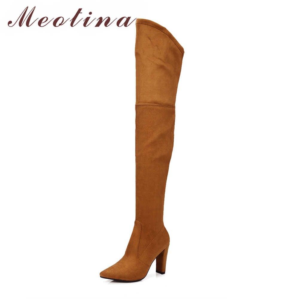 Meotina Kış Uyluk Yüksek Çizmeler Kadın Diz Çizmeler Yüksek Topuklu Akın Ayakkabı Seksi Sivri Burun Kadın 2018 Yeni büyük Boy 34-43