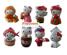 Japanese Anime PVC Cute Hello Kitty Action Figures  8pcs/set Fruit Cosplay Toys For Collection