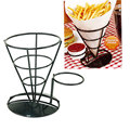 2017 Hot French Fry Stand with Condiment Stand, French Fries Chip Cone Holder Black Flavoring Rack Iron Potato Chips Rack