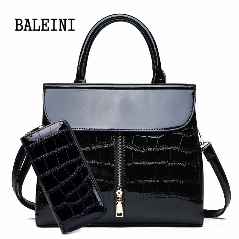 Genuine Leather Women Shoulder Bags High Quality Patent Leather Women Handbags And Purses 2 Sets Large Ladies Tote Bolsa