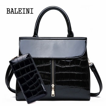 Genuine Leather Women Shoulder Bags High Quality Patent Leather Women Handbags And Purses 2 Sets Large Ladies Tote Bolsa цена 2017