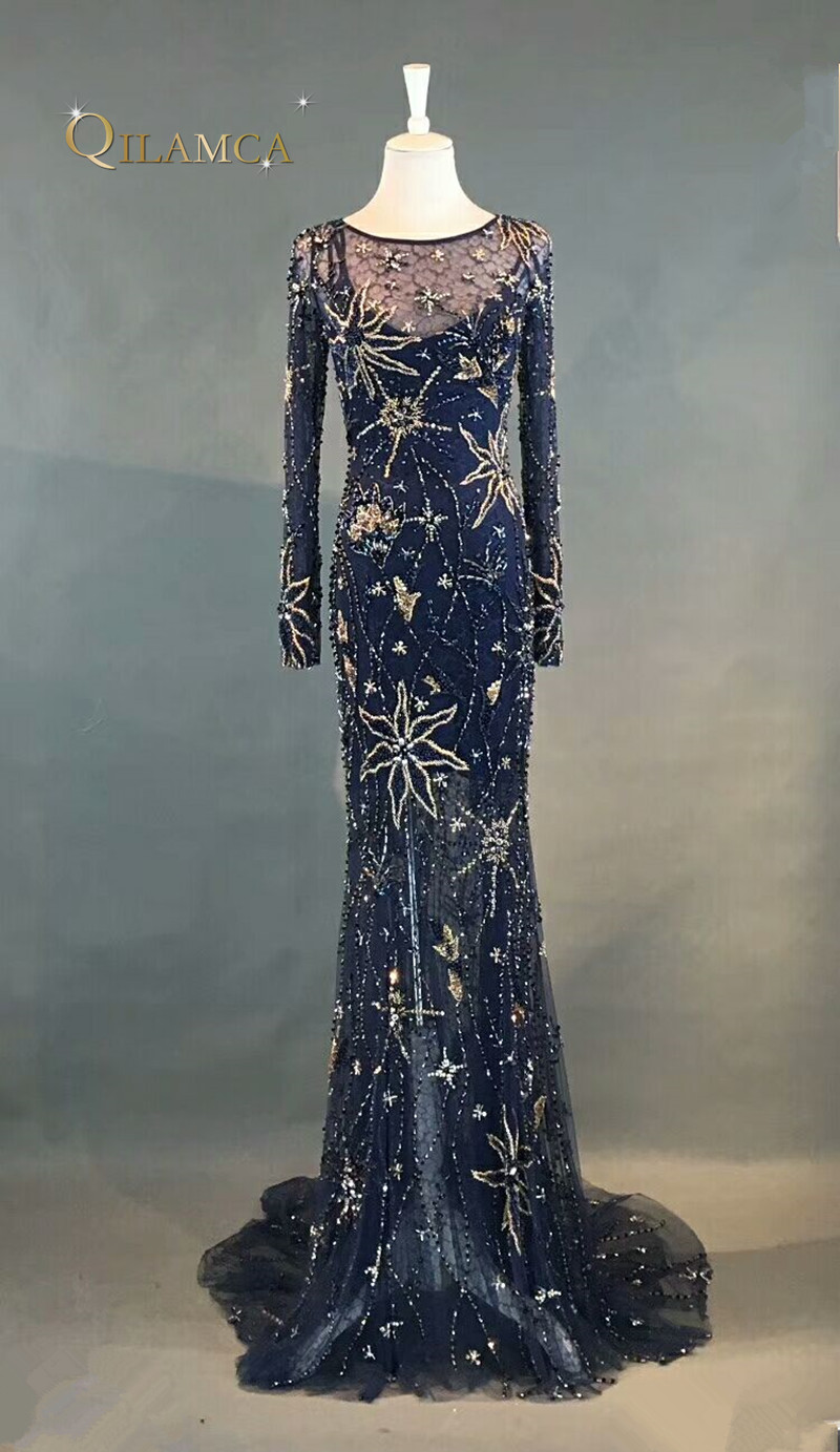 Evening Dresses 2018 Mermaid Long Sleeves Beaded Crystals Sparkle ...