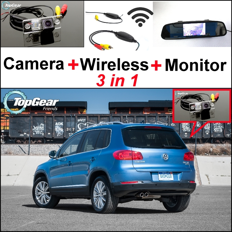 3 in1 Special Rear View Wifi Camera + Wireless Receiver + Mirror Monitor Back Up Parking System For Volkswagen VW Tiguan car rear trunk security shield cargo cover for volkswagen vw tiguan 2016 2017 2018 high qualit black beige auto accessories