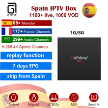 SOFOBOD Android 7.1 Set Top TV Box with Spanish French Sport iptv subscription 11100 lives 1000 VOD 4K H.265 ship from Spain