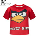 2017 Summer Children 3D Cartoon Short sleeve T Shirt Fashion novelty Boy Sport T-Shirt Red angry Bird Print Brand Design Tops