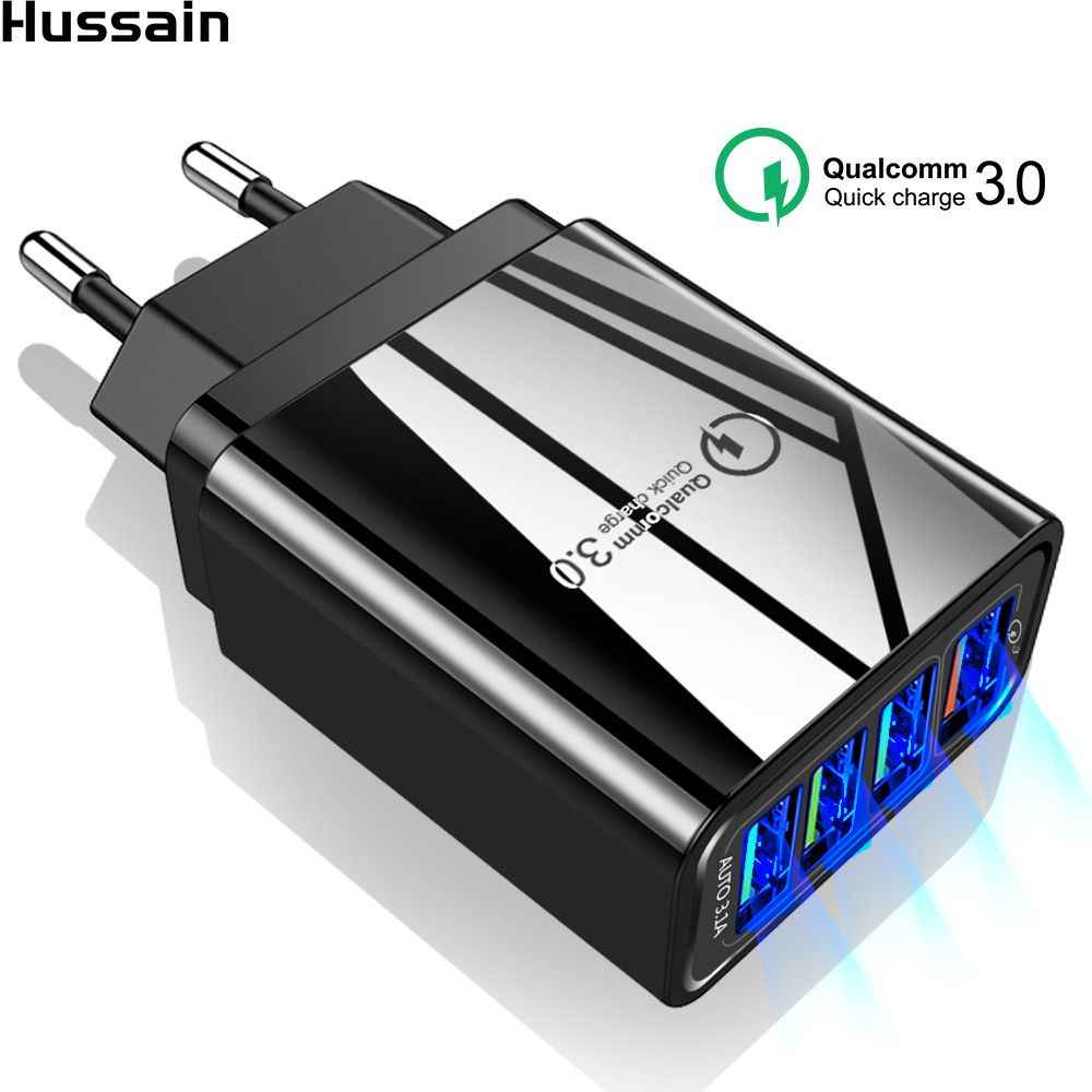 Hussain Quick Charge 3.0 USB Charger EU/US/UK Plug Mobiele Telefoon Fast Charger Voor iPhone XS Samsung s8 S9 QC 3.0 4 Poorten Adapters