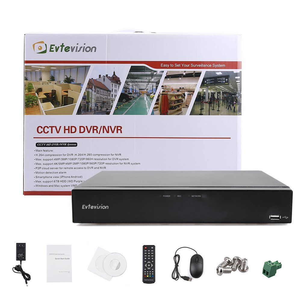 Evtvision 8CH Hybrid 5-in-1 1080P Lite Realtime CCTV Security DVR Video Recorder