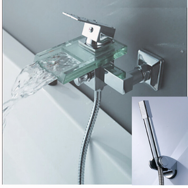 Luxury Glass Spout Bathroom Tub Faucet Hand Shower Mixer Tap Wall Mount  Chrome