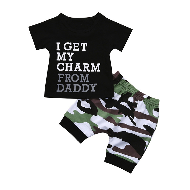 2018 Toddler Kids Baby Boy Letter T shirt Tops+Camouflage Shorts Outfits Clothes Set