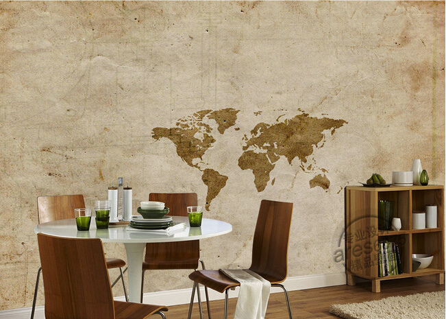Custom 3D large  murals,Retro wall world map , living room sofa TV wall bedroom background wall paper
