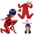 Milagrosa joaninha halloween costumes de natal para crianças meninas joaninha quente marinette máscara peruca de cosplay girls dress crianças conjuntos