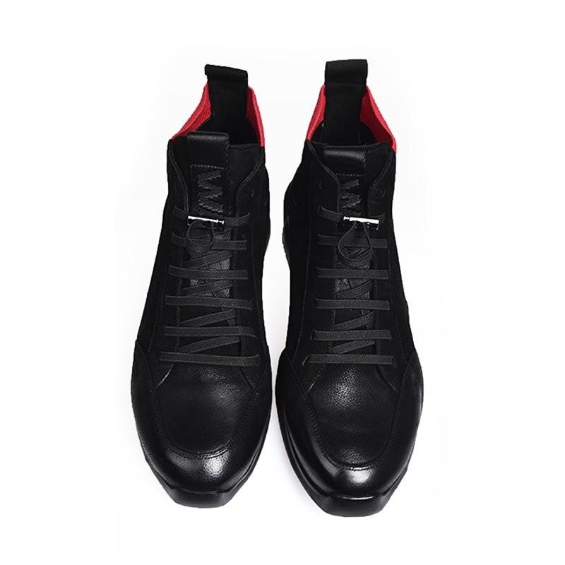 Inverno Lining fleece Homens Top Homem Alta De Forro Sapatos Calçados Martin Plataforma Couro Genuíno Ankle Lã Casuais Lace Normal Boots Grosso Dos Patchwork Up BxgET