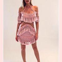 2017 последние розовый женское платье осень зима элегантные вечерние выдалбливают Кружево кисточкой люксовый бренд ручной Бисер платье