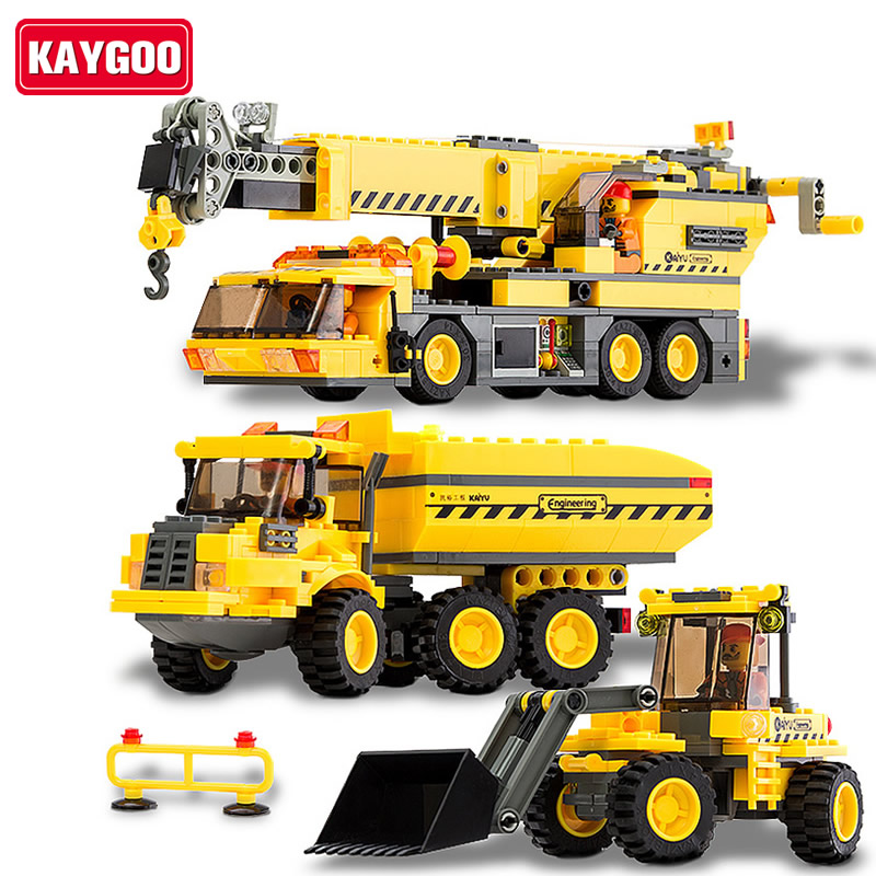 KAYGOO Children educational  toys City cars crane Truck DIY Building block sets  Christmas gift Enlighten banbao 8313 290pcs fire fighting ladder truck building block sets educational diy bricks toys christmas kids gift
