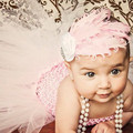 Baby Girl Sweet Pink Christening Evening Gowns Dress WithFeather Headband Vestido Infantil Clothing For Baby Girl