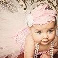 Bebé Sweet Pink bautizo vestidos de noche Vestido WithFeather diadema Vestido Infantil ropa para bebé