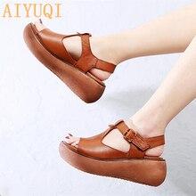 AIYUQI Women gladiator sandals platform 2019 new women genuine leather 100% natural retro casual wedge summer footwear