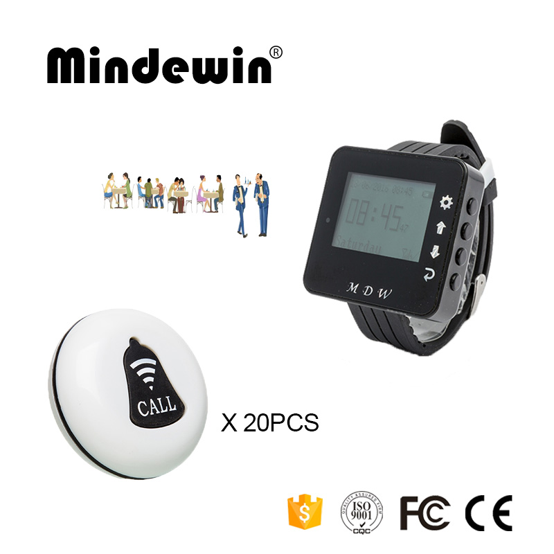Mindewin Restaurant Waiter Calling System 20PCS Service Call Button M-K-1 + 1PCS Watch Pager M-W-1 Restaurant Buzzer System service call bell pager system 4pcs of wrist watch receiver and 20pcs table buzzer button with single key