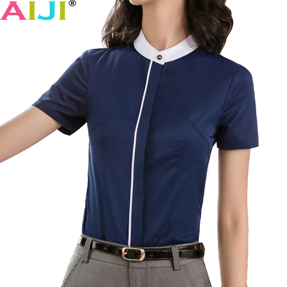 ca96a736c05 Summer navy white elegant blouse women short sleeve shirt o-neck collar tops  ladies office business plus size 4xl work wear